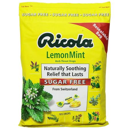Ricola Sugar Free Lemon Mint Drops 1 Bag - 105 Drops Total Herbal Throat