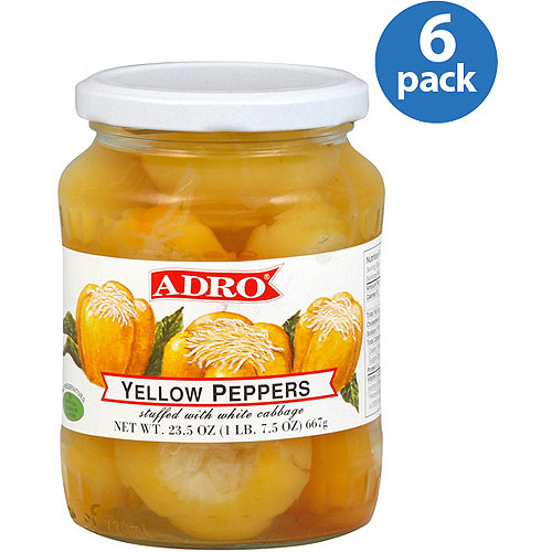Adro Yellow Peppers Stuffed with White Cabbage, 23.5 oz, (Pack of 6)
