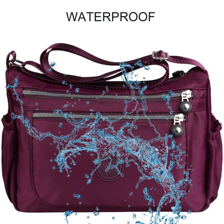 Vbiger Women Casual Waterproof Shoulder Bag Multi Pockets Tote Handbags, Purple