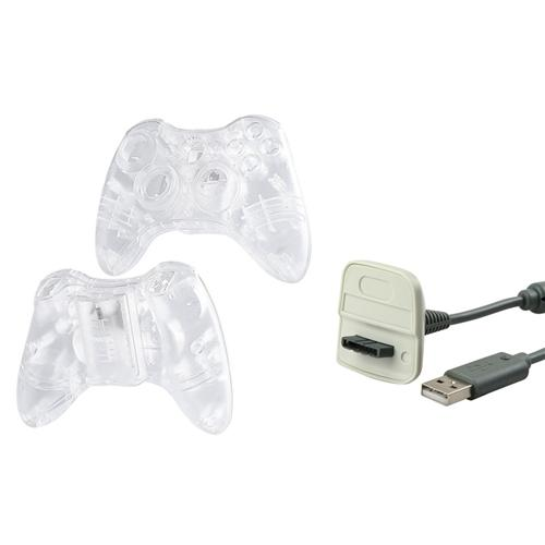 Insten Crystal Shell Case Cover+USB Charging Cable Cord For Xbox 360 Wireless Controller