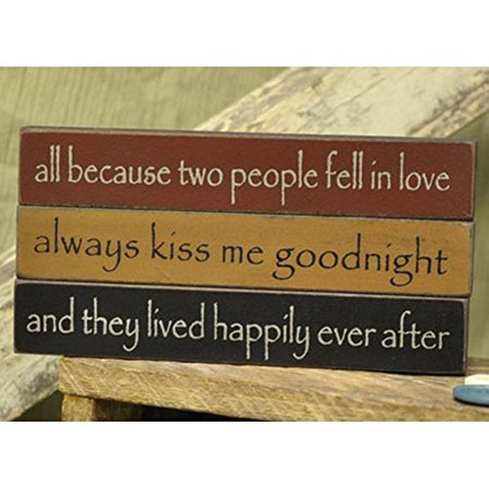 Love - Mini Desk Signs - Set of 3 (All Because Two People Fell In Love, Always Kiss Me Goodnight, And They Lived Happily Ever (All Because Two People Fell In Love Sign)