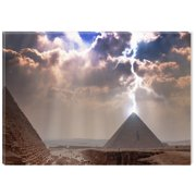 Startonight Canvas Wall Art Egypt Pyramid Lightning USA Design for Home Decor, Illuminated African Painting Modern Canvas Artwork Framed Ready to Hang Medium 23.62 X 35.43 inch