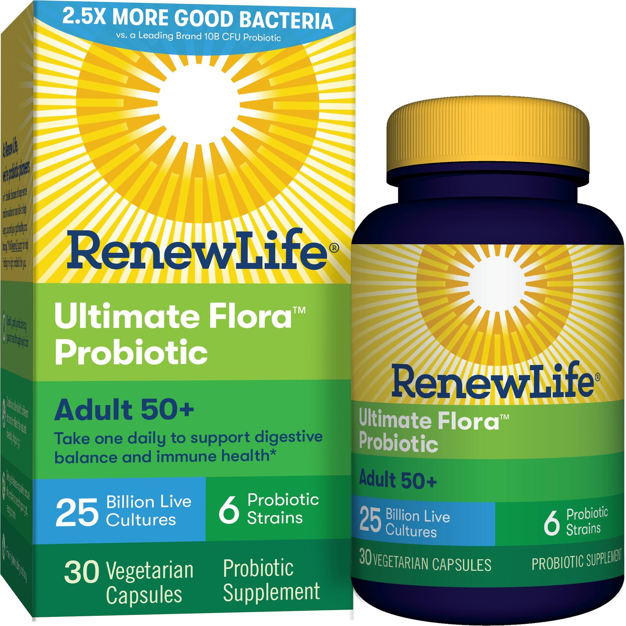 Renew Life Adult 50+ Probiotic, Ultimate Flora, 25 Billion, 30 Capsules