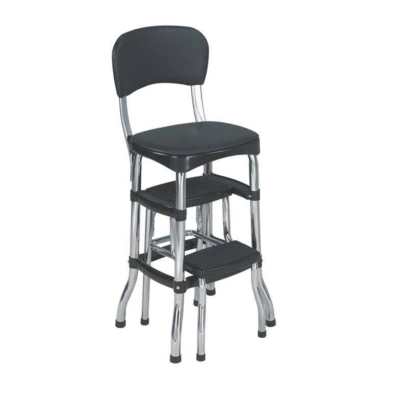 Cosco Black Retro Counter Chair Step Stool Walmart Com