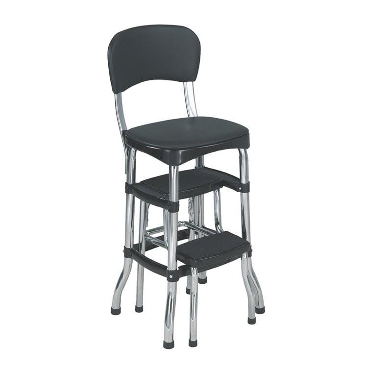 Cosco Black Retro Counter Chair Step Stool Walmart Com