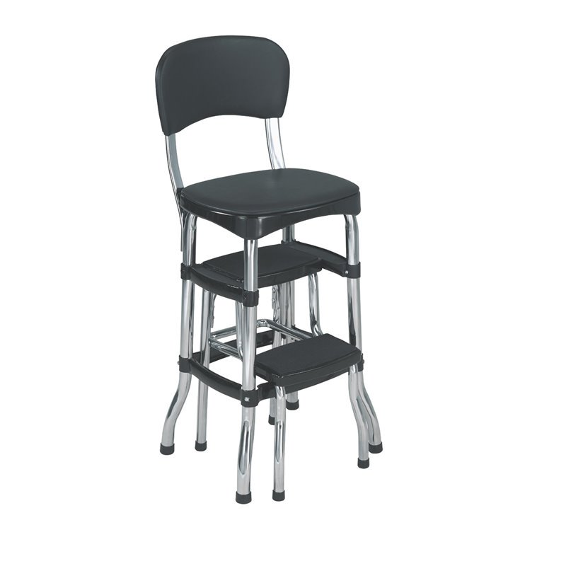 Superbe Cosco Black Retro Counter Chair / Step Stool