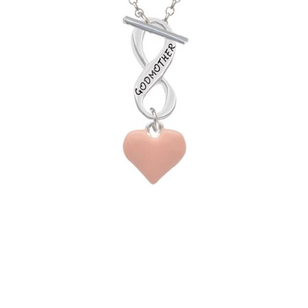 (3-D Pink Puffy Heart Godmother Infinity Toggle Chain Necklace)