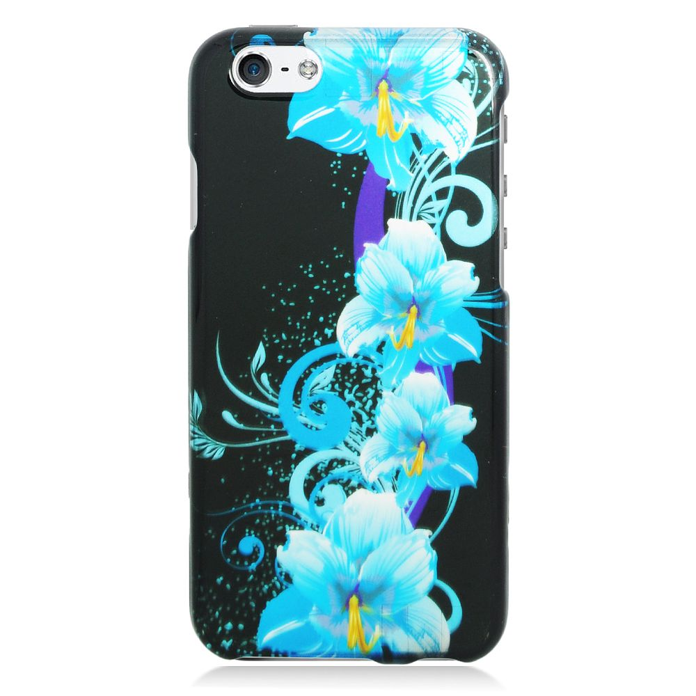 Insten Flowers Hard Rubber Coated Cover Case for iPhone 6 / 6s - Blue/Black - image 2 of 3