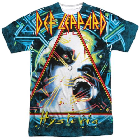 Def Leppard 80s Heavy Metal Band Hysteria Cover Adult Front Print T-Shirt Tee - 80s Heavy Metal