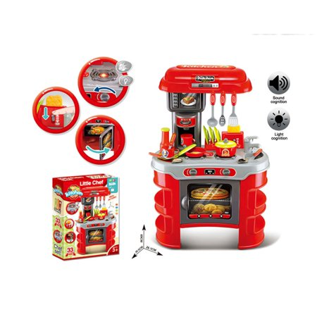 Kitchen Set Red With Music And Light Cooking Toys Little Chef Kids Functional Table Cookware Plastic Food 33 Pcs