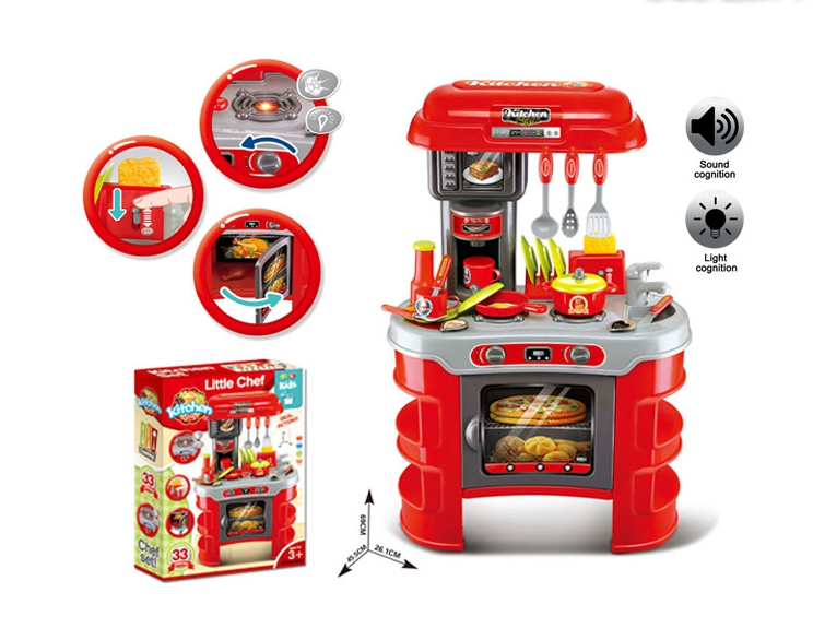 Merveilleux Kitchen Set RED With Music And Light, Cooking Toys Little Chef, Kids  Functional Kitchen Table Set With Cookware And Plastic Food 33 PCS!