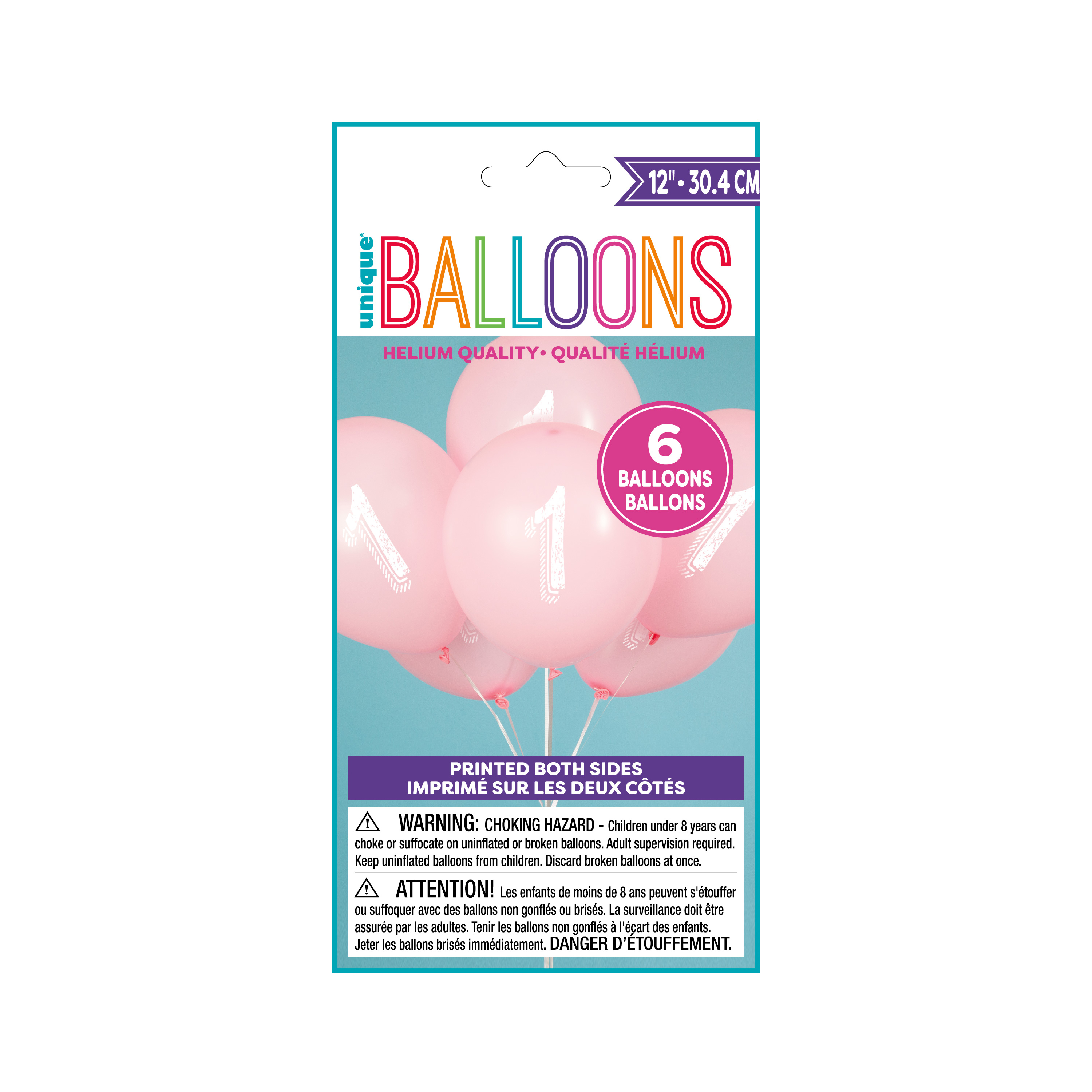 Latex Chalk Design Number 1 Balloons, Pink, 12 in, 6ct