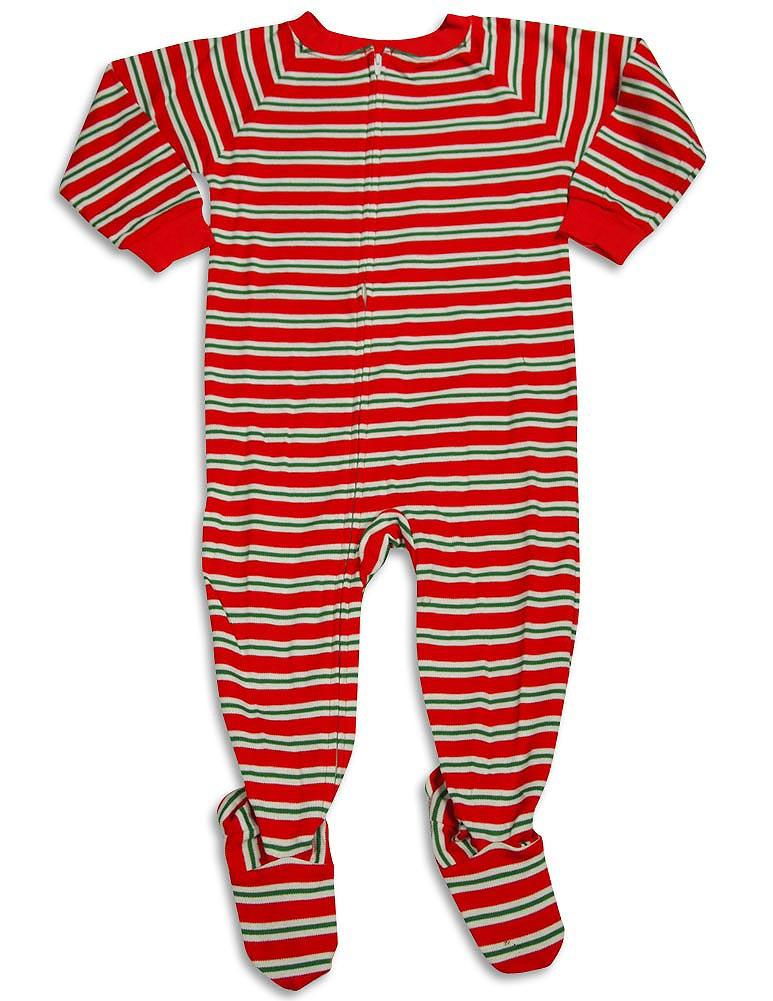 Saras Prints Baby Infant Toddler Boys One Piece Footed Coverall Sleep Pajama, 29791 Red Green Stripe / 3