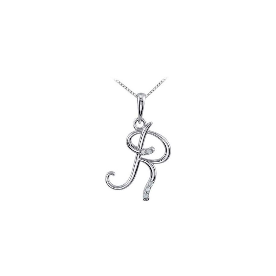 LoveBrightJewelry Diamond Script Initial R Necklace from ...