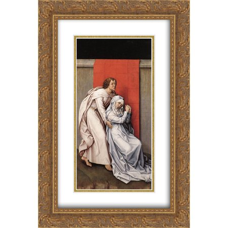282 Matt - Rogier van der Weyden 2x Matted 16x24 Gold Ornate Framed Art Print 'Crucifixion Diptych'