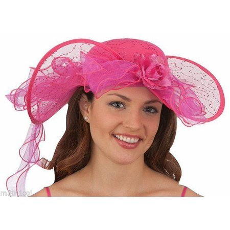 Womens Pink Southern Belle Kentucky Derby Hat Lace Costume Colonial Western](Derby Halloween 2017)