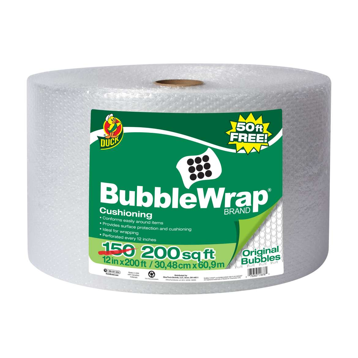 "Duck Brand 12"" x 150' Bubble Wrap Cushioning BONUS Roll, 50' Free"