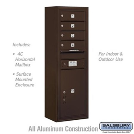 Salsbury 3811S-04ZFU 42 - 0.125 in. 11 Door High Unit Single Column 4 MB 1 Doors & 1 PL5 Front Loading Surface Mounted 4C Horizontal Mailbox Unit, Bronze - USPS