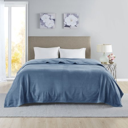 Comfort Classics Liquid Velvet Lightweight Fleece Blanket, Twin Blue ()