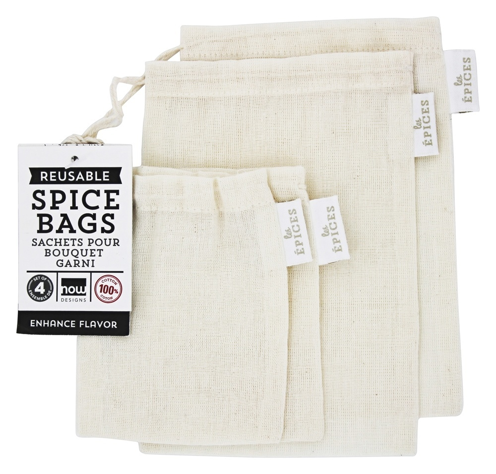 Now Designs - 100% Cotton Reusable Spice Bags - 4 Bags