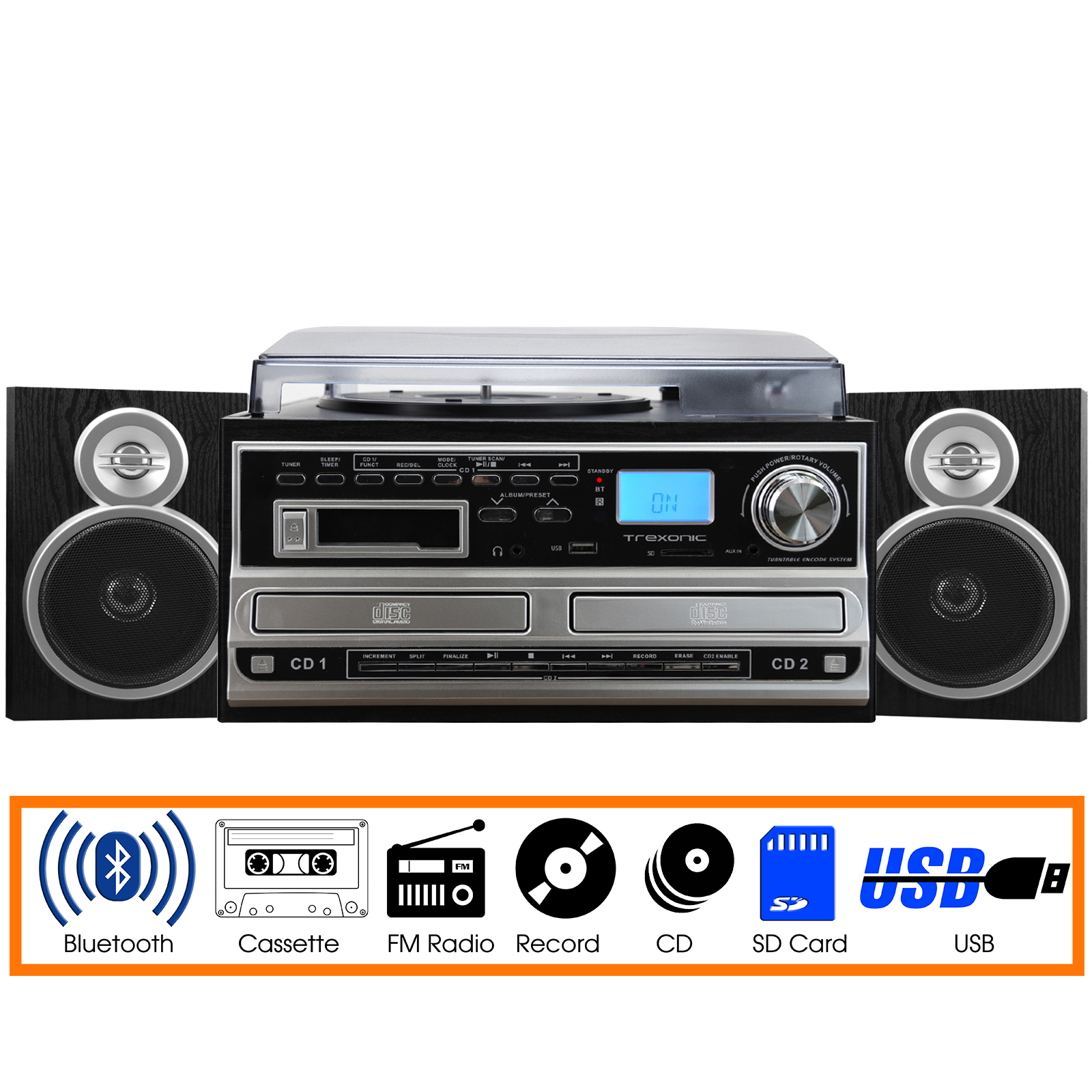 Trexonic 3-Speed Turntable With CD Player, CD Recorder, Cassette Player, Wired Shelf Speakers, FM Radio & CD... by Trexonic