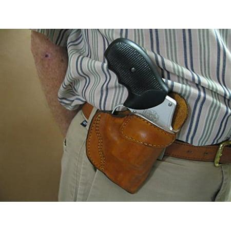 Ruger SP101 5 Shot Revolver Leather Clip On OWB Belt Concealment Holster TAN RH Revolver Concealment Holsters