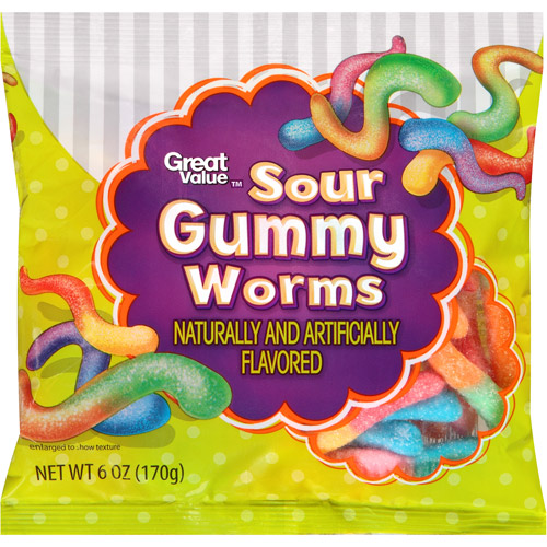 Great Value Sour Gummy Worms, 6 oz