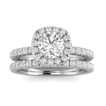 1.00ctw Diamond Halo Bridal Set Engagement Ring in 14k  White Gold (1.00ctw,I2-I3, G-H)