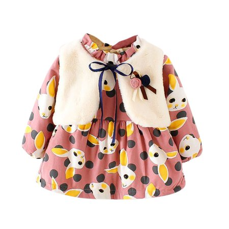 BOBORA Winter Kid Girls Thicken Dress Suit Long-sleeved Floral Plus Velvet Dress+Fur Vest 2 Pcs For 3-8Y - Winter Dress Girls