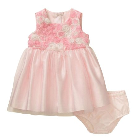 george infant girls pink rosette satin & tulle easter & holiday dress - Newborn Christmas Dress