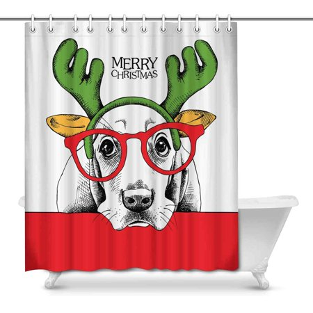 MKHERT Funny Christmas Dog In Mask Santas Antler Reindeer Glasses Home Decor Waterproof Polyester Bathroom Shower