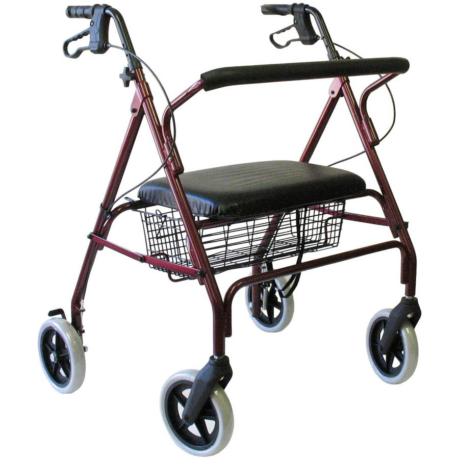 "Karman R-4700 Heavy Duty Bariatric Rollator with 8"" Wheels, Padded Seat and Backrest, Wire Basket, Loop Brakes, Burgundy"