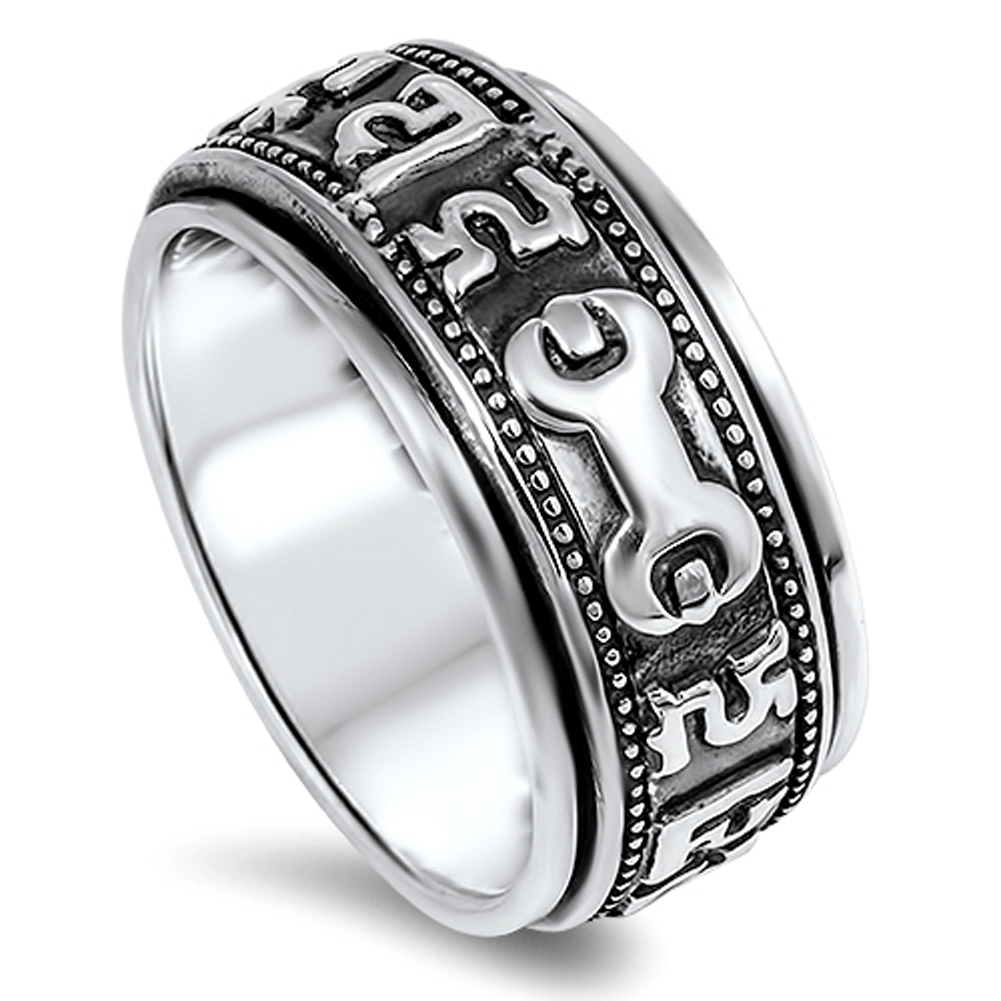 Men's Spinner Wrench Symbol Wedding Ring ( Sizes 7 8 9 10 11 12 ) New 925 Sterling Silver Band Rings by Sac Silver (Size 8)