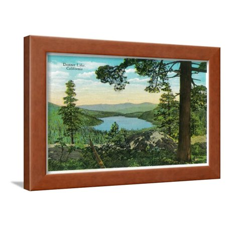 Donner Lake, California from Ridge - Donner Lake, CA Framed Print Wall Art By Lantern - Donner Lake California