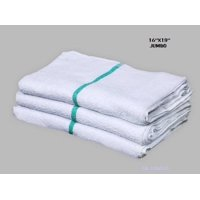 """GHP 60-Pcs 16""""x19"""" Terry Cloth White & Green Stripe Janitorial Cleaning Rag Towels"""