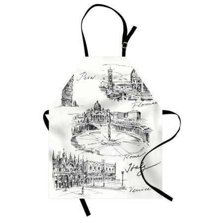 Sketchy Apron Travel the World Themed Historical Italian Landmarks Venice Rome Florence Pisa, Unisex Kitchen Bib Apron with Adjustable Neck for Cooking Baking Gardening, Black White, by Ambesonne
