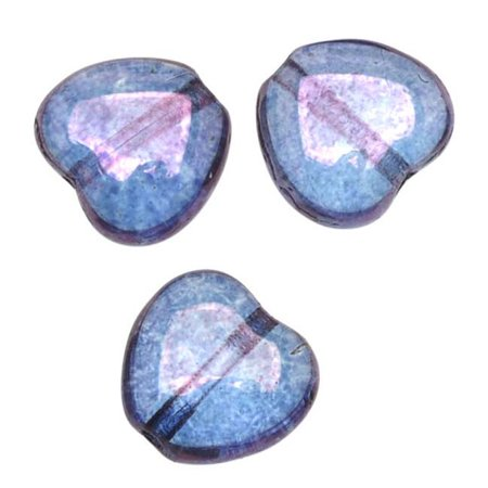 Czech Glass - Heart Shaped Beads 8.5x7.5mm 'Transparent Amethyst' - Amethyst Heart Beads Czech Glass