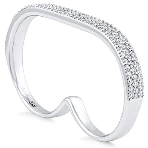 Doma Jewellery SSRZ762 One, Size Double Finger Sterling Silver Ring With Cubic Zirconia