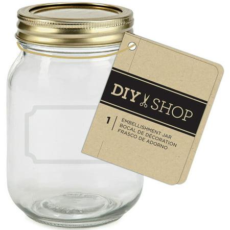 Diy Shop 4 Mini Mason Jar-Gold - Craft Jars