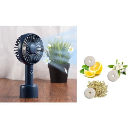Personal Handheld Fan by Insten Dark Blue Mini Portable Fan Aroma Cooling Fan Battery Operated with Desk Stand for Office Indoor Outdoor Traveling Bundle with 3-Piece Aromatherapy Replacement Pads