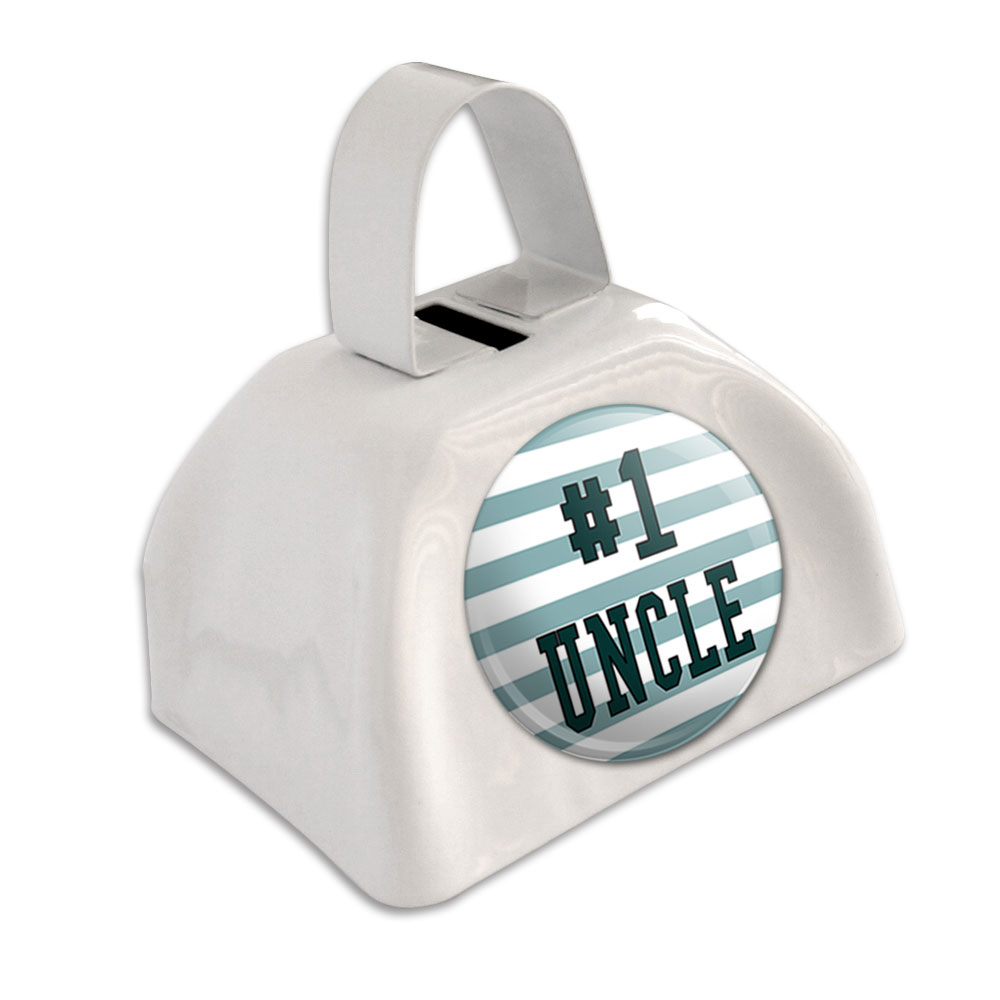#1 Uncle Number One Favorite White Cowbell Cow Bell by Graphics and More
