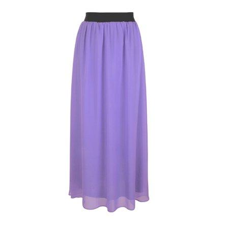 Faship Women Long Retro Pleated Maxi Skirt Lavender -