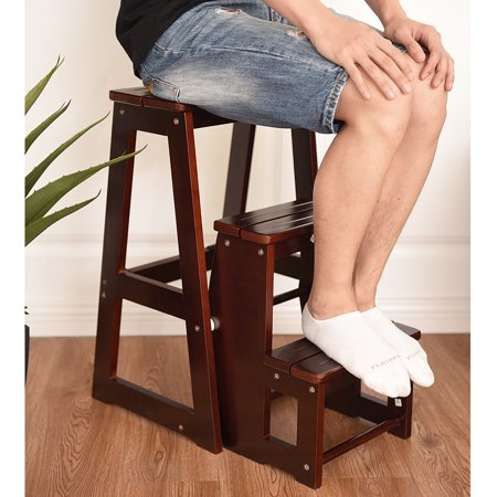 Costway Wood Step Stool Folding 3 Tier Ladder Chair Bench