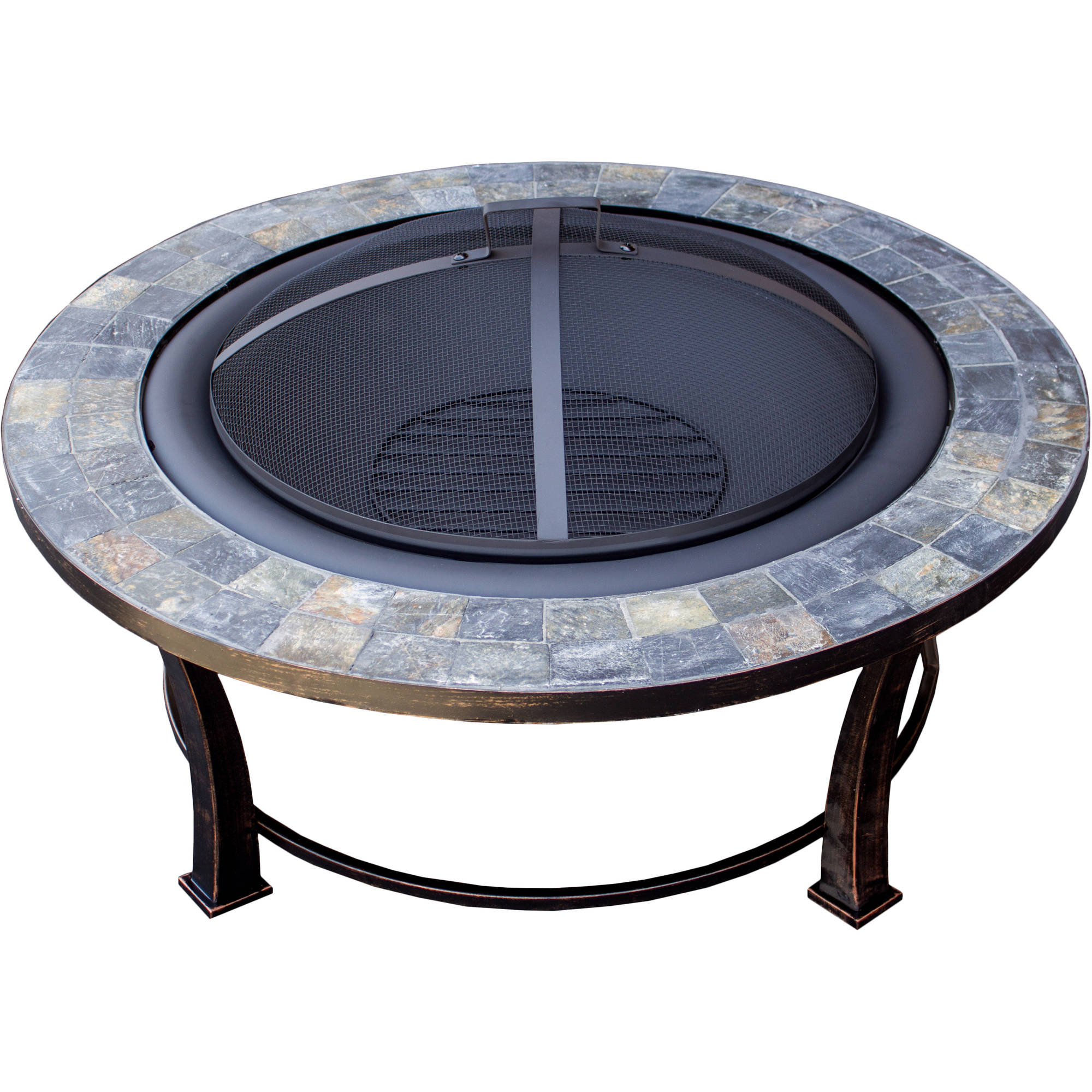 Hiland Round Slate Top Wood Burning Fire Pit