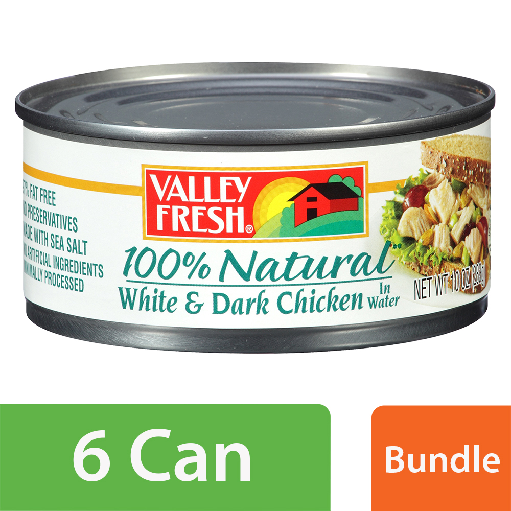 Valley Fresh Natural Chunk White & Dark Chicken in Water, 10 oz Can (6 Packs)