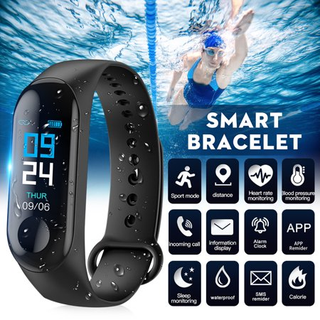 Mountain Heart Rate Monitor - Fitness Tracker, Smart Bracelet with Heart Rate Blood Pressure IP65 Waterproof bluetooth 4.0 Sports Pedometer Sleep Monitor Call/SMS Reminder Sedentary Reminder