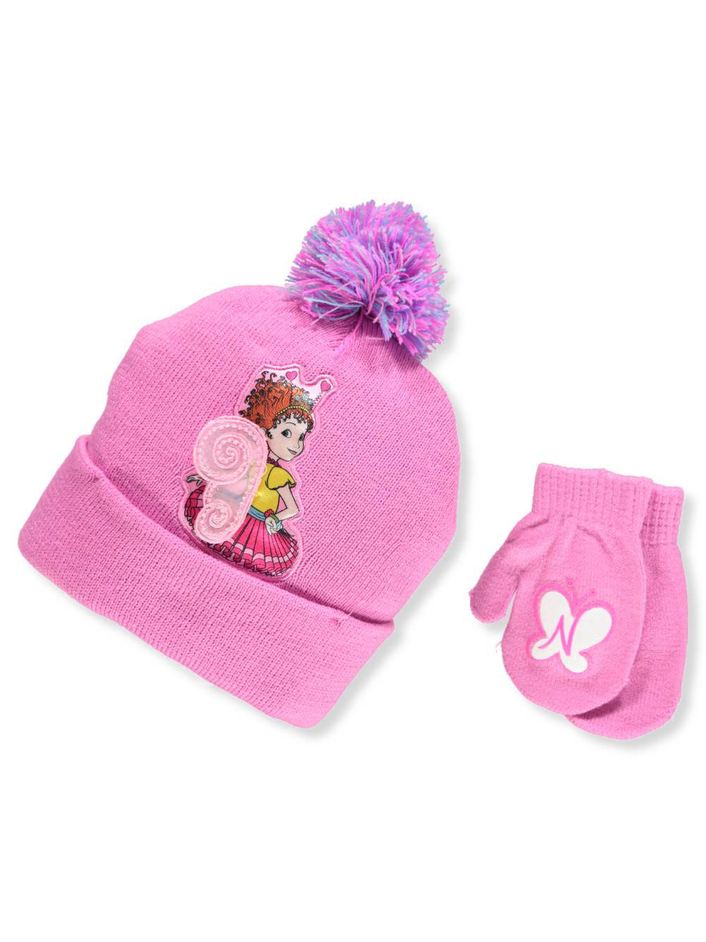 Fancy Nancy Girls' Beanie & Mittens Set (Toddler One Size)
