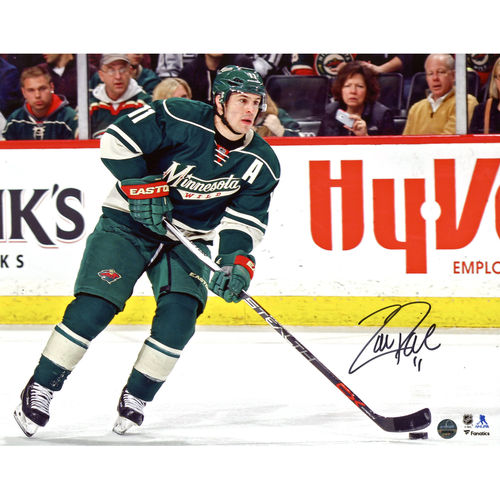 "Zach Parise Minnesota Wild Autographed 8"" x 10"" Skating With Puck Photograph - Steiner Sports - No Size"