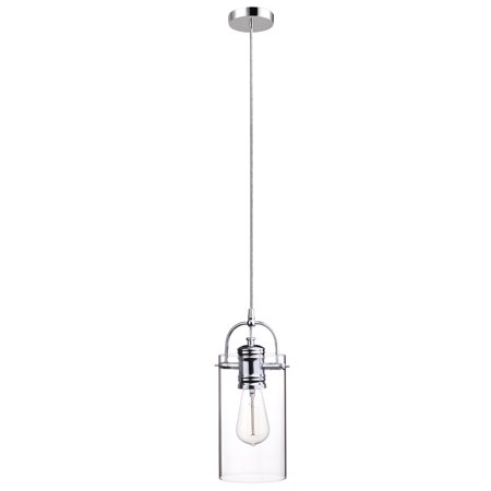 Opal Cased Globe Pendant - Globe Electric James 1-Light Polished Chrome Plug-In or Hardwire Pendant with Clear Glass Shade, 65714