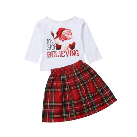 Baby Girl Christmas Set Don't Stop Believing Santa T-Shirt Plaid Mini Skirt Outfit